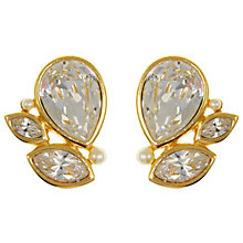 Buy Eclectica Vintage 1980s Swarovski Gold Clip-On Earrings, White Online at johnlewis.com