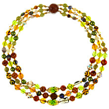 Buy Eclectica Vintage 1950s Three Row Glass Bead Necklace, Green Online at johnlewis.com