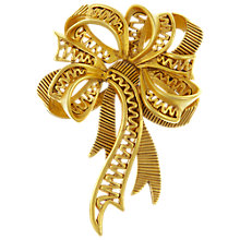 Buy Eclectica Vintage 1980s Oscar De La Renta Bow Brooch, Gold Online at johnlewis.com