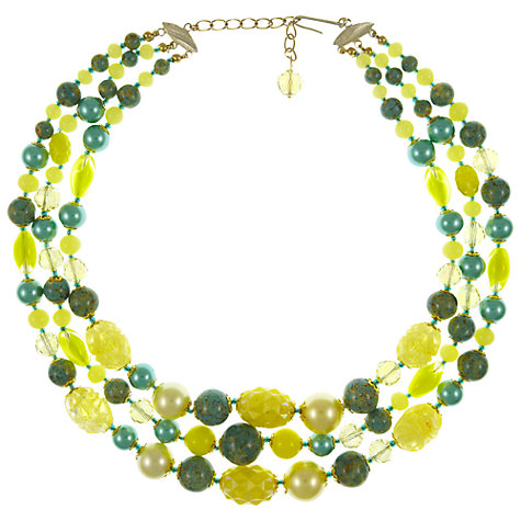 Buy Eclectica Vintage 1950s Triple Row Glass and Plastic Bead Necklace, Lime Online at johnlewis.com