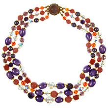 Buy Eclectica Vintage 1950s Triple Row Glass and Plastic Bead Necklace, Purple / Orane Online at johnlewis.com