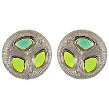 Buy Eclectica Vintage 1960s Trifari Chrome Plated Earrings, Olive Green Online at johnlewis.com