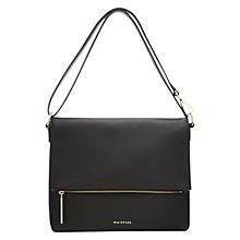 Buy Whistles Lexham Foldover Leather Zip Satchel, Black Online at johnlewis.com