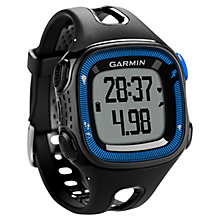 Buy Garmin Forerunner 15 GPS Running Watch, Large, Black/Blue Online at johnlewis.com
