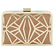 Buy Dune Ecage Cut Out Metal Detail Suede Clutch Bag, Taupe Online at johnlewis.com
