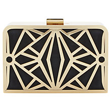 Buy Dune Ecage Cut Out Metal Detail Suede Clutch Bag, Black Online at johnlewis.com