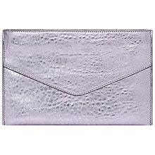 Buy French Connection Nienke Metallic Leather Envelope Clutch Bag, Textured Lilac Online at johnlewis.com