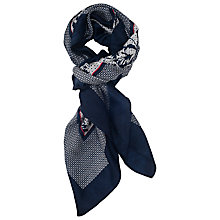 Buy French Connection Abigail Border Scarf, Winter White/Utility Blue Online at johnlewis.com