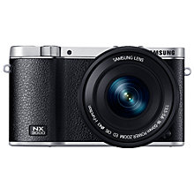 "Buy Samsung Galaxy NX3000 Compact System Camera with 16-50mm Lens, HD 1080p, 20.3MP, Wi-Fi, NFC, 3"" Flip Screen and Abobe Photoshop Lightroom Online at johnlewis.com"