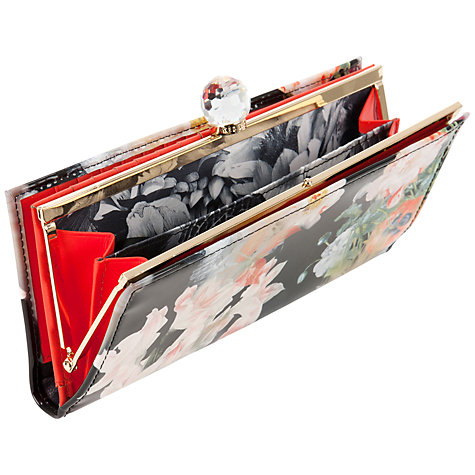 Buy Ted Baker Brembo Opulent Bloom Printed Matinee Leather Purse, Black Online at johnlewis.com
