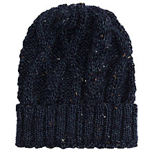 Buy JOHN LEWIS & Co. Made in England Wool Cable Beanie, Denim Online at johnlewis.com
