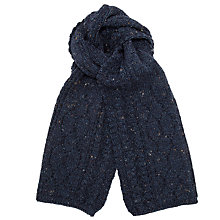 Buy John Lewis Aran Cable Knit Wool Scarf, Denim Online at johnlewis.com