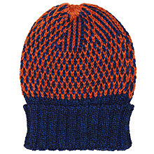 Buy JOHN LEWIS & Co. British Wool Birdseye Beanie Hat, One Size, Orange/Navy Online at johnlewis.com