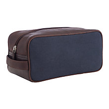 Buy John Lewis Leather/Canvas Wash Bag, Navy/Brown Online at johnlewis.com