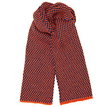 Buy JOHN LEWIS & Co. British Wool Birdseye Scarf, Orange/Navy Online at johnlewis.com