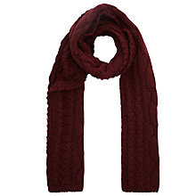 Buy JOHN LEWIS & Co. Made in England Aran Cable Scarf, Burgundy Online at johnlewis.com
