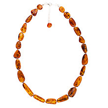 Buy Be-jewelled Amber Necklace Sterling Silver Clasp, Cognac Online at johnlewis.com