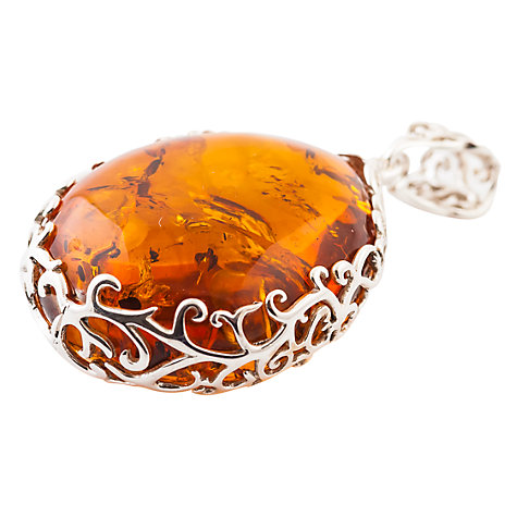 Buy Be-Jewelled Amber Pear Shape Pendant, Cognac Online at johnlewis.com