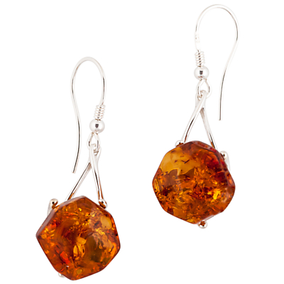 Be-Jewelled Amber Facet Style Earrings, Cognac