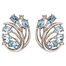 Buy Susan Caplan Vintage 1950s Trifari Silver Plated Stylised Flower Clip-On Earrings, Sky Blue Online at johnlewis.com