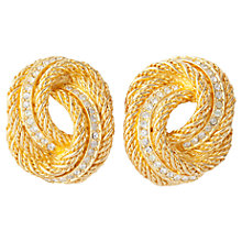 Buy Susan Caplan Vintage 1980s Christian Dior Textured Knot Swarovski Crystal Clip-On Earrings, Gold Online at johnlewis.com