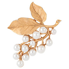 Buy Susan Caplan Vintage 1960s Trifari Gold Plated Faux Pearl Leaf Brooch Online at johnlewis.com