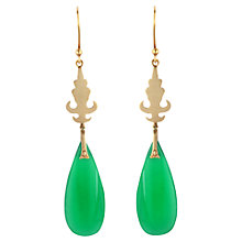 Buy Sharon Mills Chalcedony Pear Shaped Drop Earrings, Green Online at johnlewis.com