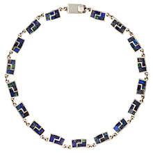 Buy Sharon Mills Vintage Silver Square Link Necklace, Silver/Blue Online at johnlewis.com