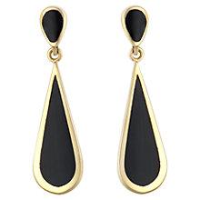 Buy Sharon Mills Black Onyx 9ct Yellow Gold Long Drop Earrings, Black Online at johnlewis.com