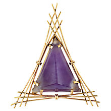Buy Sharon Mills 9ct Yellow Gold Aamethyst Triangle Brooch, Purple Online at johnlewis.com
