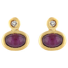 Buy Sharon Mills Ruby & Diamonds Oval Yellow Gold Earrings, Purple Online at johnlewis.com