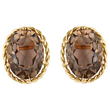 Buy Sharon Mills 9ct Yellow Gold Twisted Rope Quartz Stud Earrings, Brown Online at johnlewis.com