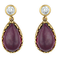 Buy Sharon Mills Garnet & Diamond Drop 18ct Yellow Gold Earrings, Purple Online at johnlewis.com