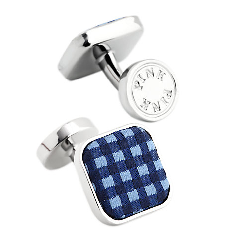 Buy Thomas Pink Warren Woven Button Cufflinks, Navy Online at johnlewis.com
