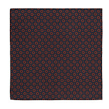 Buy JOHN LEWIS & Co. Wyman Print Pocket Square, Navy/Brown Online at johnlewis.com