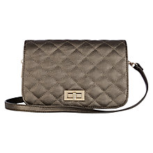 Buy Oasis Capni Quilted Cross Body Bag, Metallic Pewter Online at johnlewis.com