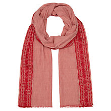Buy Jigsaw Embroidered Stripe Scarf, Red Online at johnlewis.com