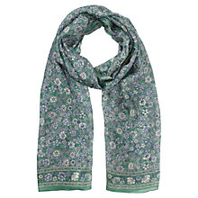 Buy Jigsaw Floral Printed Silk Scarf, Green Online at johnlewis.com
