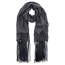 Buy Mint Velvet Fringe Scarf, Steel/Navy Online at johnlewis.com