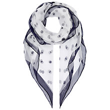 Buy Hobbs Spot Silk Scarf, Navy Ivory Online at johnlewis.com