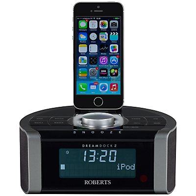 ROBERTS DREAMDOCK2 DABDABFM Digital Clock Radio with iPodiPhone Dock  Lighting Connector