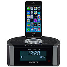 Buy ROBERTS DREAMDOCK2 DAB/DAM+/FM Digital Clock Radio with iPod/iPhone Dock - Lighting Connector Online at johnlewis.com