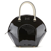 Buy Paul's Boutique Meg Patent Tote Bag, Black / Cream Online at johnlewis.com