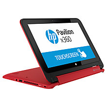 "Buy HP Pavilion x360 11-n005na Convertible Laptop, Intel Pentium, 4GB RAM, 750GB, 11.6"" Touch Screen, Red + Microsoft Office 365 Personal Online at johnlewis.com"