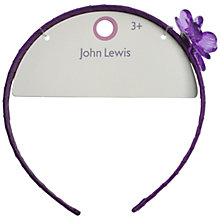 Buy John Lewis Flower Alice Band, Purple Online at johnlewis.com