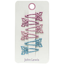 Buy John Lewis Glitter Butterfly Hair Clips, Pack of 6, Multi Online at johnlewis.com