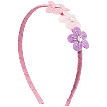 Buy John Lewis Girl Three Flower Alice Band, Pink/Lilac Online at johnlewis.com