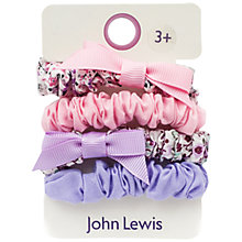 Buy John Lewis Mini Bow Hair Scrunchies, Pack of 4, Pink/Lilac Online at johnlewis.com