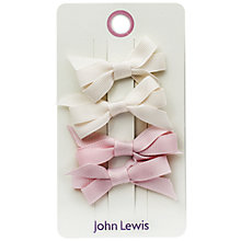 Buy John Lewis Grosgrain Bow Hair Clips, Pack of 4, Pink/Cream Online at johnlewis.com