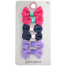 Buy John Lewis Contrast Colour Bow Hair Clips, Pack of 6, Multi Online at johnlewis.com